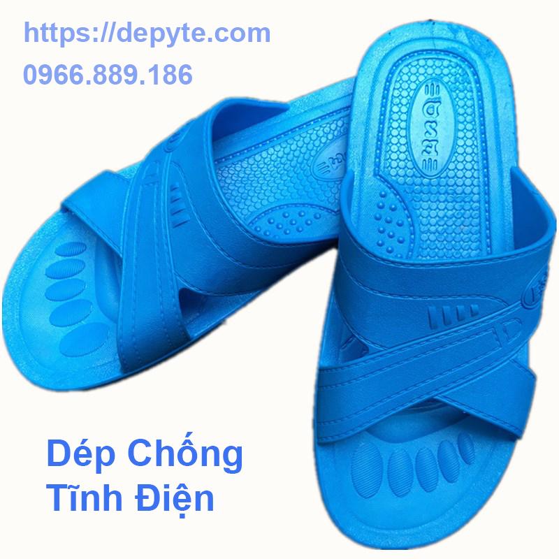 dép chống tĩnh thiếc tĩnh giày dép lọc sạch ESD dép unisex màu xanh nhà máy SPU