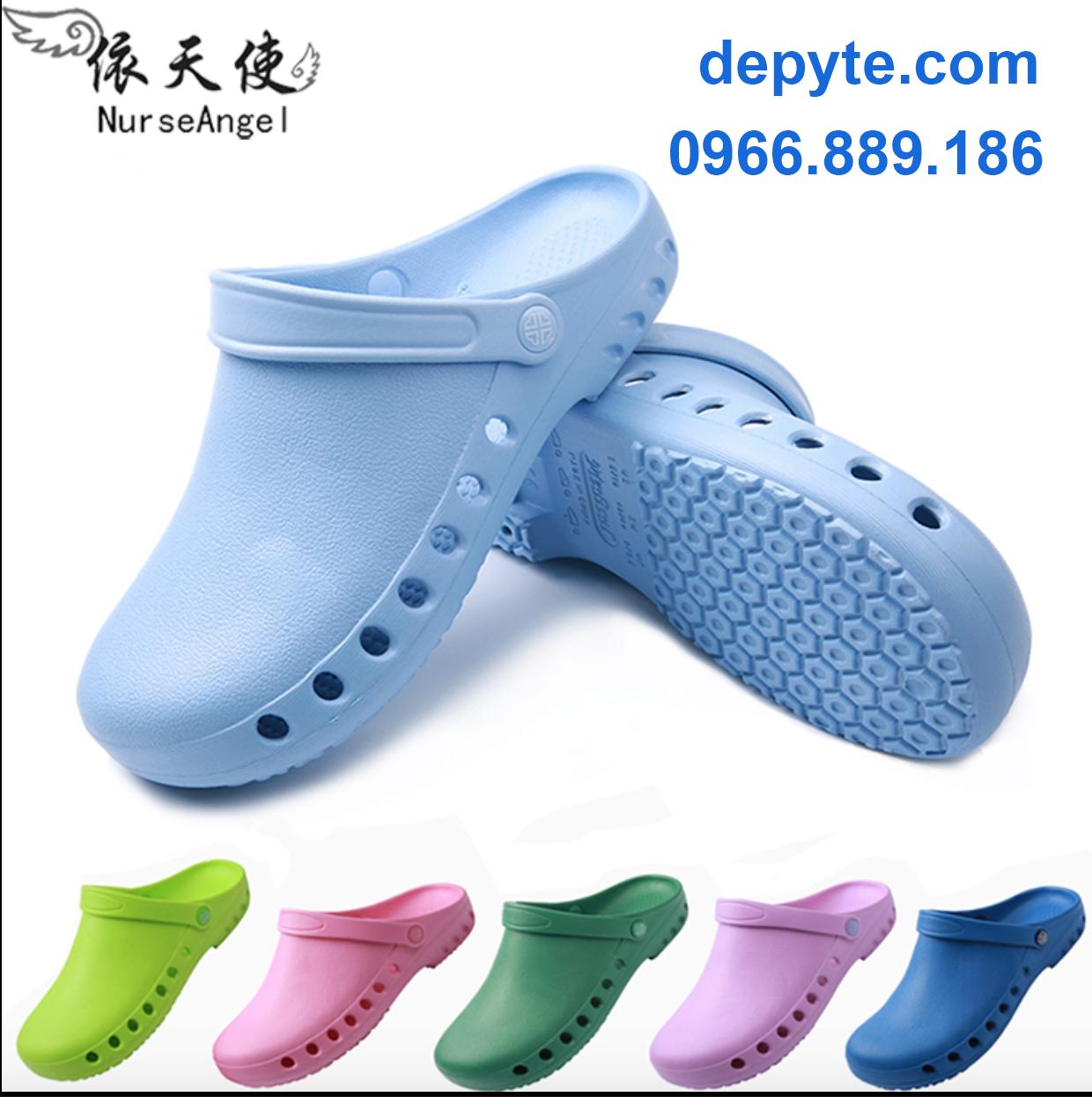 Dép sục y tế chuyên dụng cho nhân viên bệnh viện, phòng khám- dép thoáng khí đế mềm chống trơn trượt phòng tắm- dép đi trời mưa- Giày dép y tế chống trơn trượt chất lượng cao