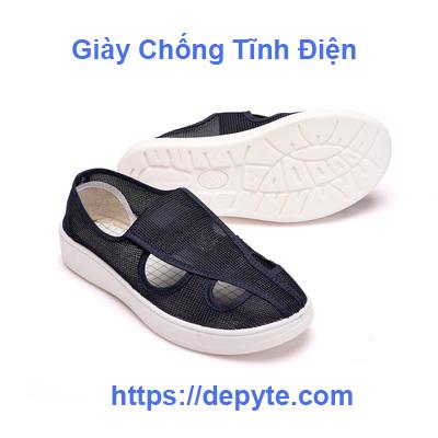 PU đáy giày lưới thở mềm mại, chống tĩnh giày bốn lỗ giày sạch dành cho nam giới và phụ nữ bị điện tử nhà máy bảo vệ giày việc giày sạch